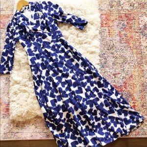 eShakti | Blue and White Heart Print Maxi Dress XS